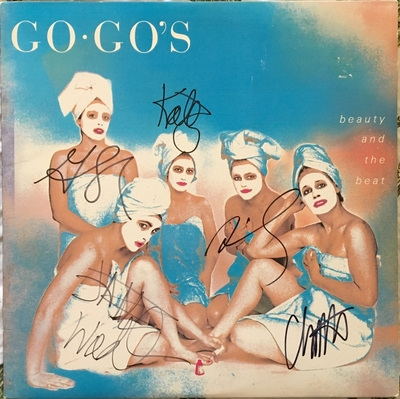 The Go-Go's complete band autographed Beauty and the Beat record album (Belinda Carlisle)