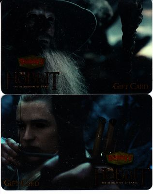 The Hobbit Desolation of Smaug movie set of 2 Denny's 2013 gift cards (Gandalf & Legolas)