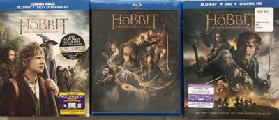 Hobbit Trilogy (An Unexpected Journey Desolation of Smaug Battle of the Five Armies) movies on Blu-ray DVDs