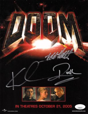 The Rock and Karl Urban autographed DOOM movie 2005 Comic-Con promotional photo (JSA)