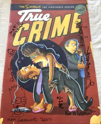 The Simpsons autographed and doodled 2017 Comic-Con poster (Matt Groening Nancy Cartwright Joe Mantegna)