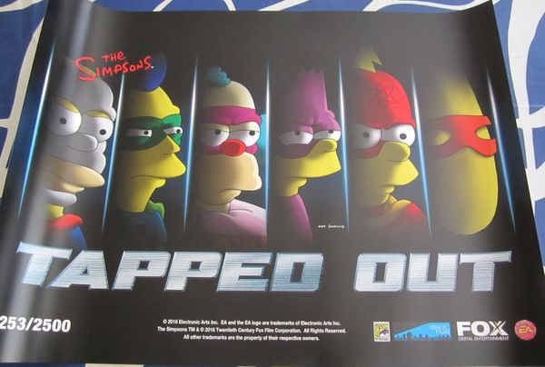 The Simpsons Tapped Out 2016 Comic-Con exclusive 18x24 promo poster #/2500