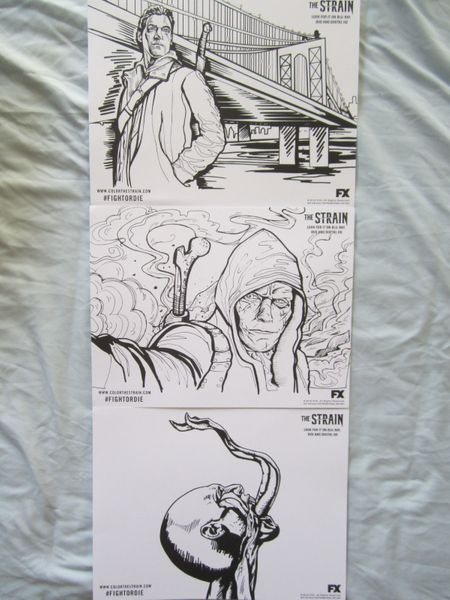 The Strain set of 3 promo coloring pages or sheets