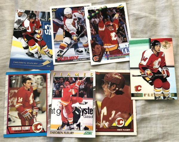 Theoren Fleury Calgary Flames 7 card lot (1989-90 O-Pee-Chee Rookie Card 1991 Score Young Superstars 1995 Stadium Club Members Only)
