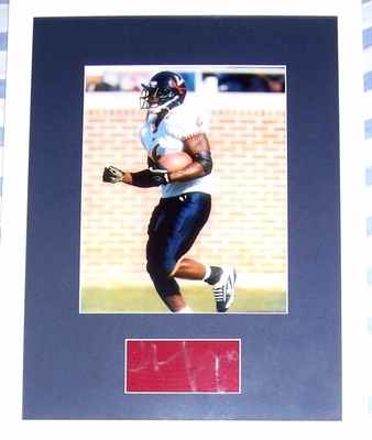 Thomas Jones autograph matted and framed with Virginia Cavaliers 8x10 photo