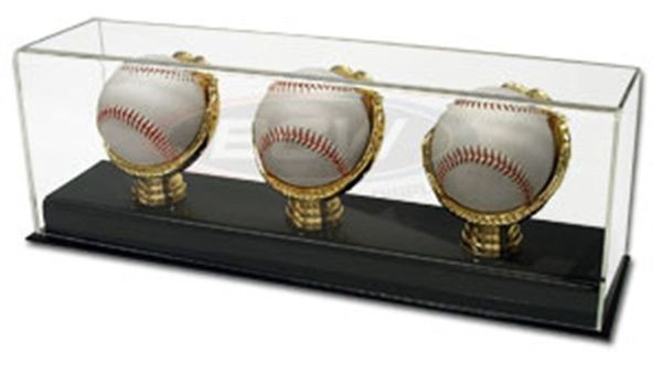 Three baseball gold glove acrylic display case
