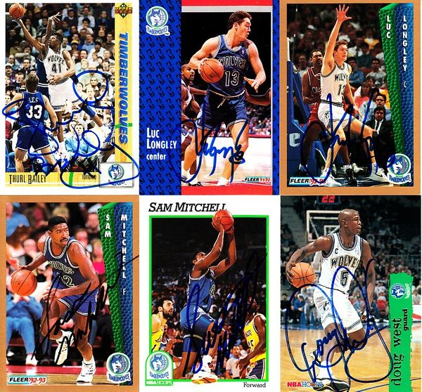 6 Minnesota Timberwolves autographed 1990s cards (Thurl Bailey Luc Longley Sam Mitchell Doug West)