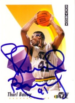 Thurl Bailey autographed Utah Jazz 1991-92 SkyBox card