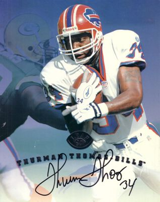 Thurman Thomas autographed Buffalo Bills 1997 Leaf 8x10 photo card