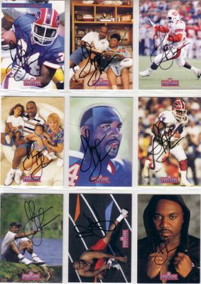 Thurman Thomas certified autographed Buffalo Bills 1992 Pro Line Profiles complete 9 card set