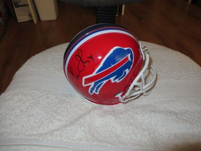 Thurman Thomas and James Lofton autographed Buffalo Bills mini helmet
