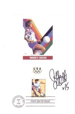 Tiffeny Milbrett autographed women's soccer 1996 U.S. Olympic Team USPS 6x9 proof card with First Day of Issue cancellation