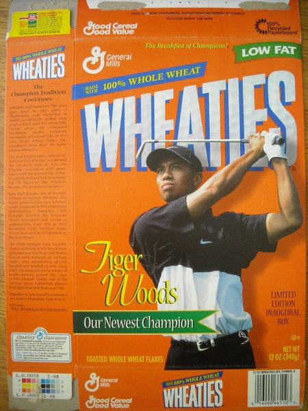 Tiger Woods 1997 Inaugural Edition commemorative Wheaties box