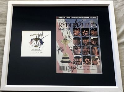 1999 US Ryder Cup Team autographed program cover framed with Tiger Woods autographed scorecard (JSA PSA/DNA)