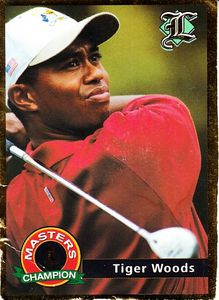 Tiger Woods 2001 Legends magazine golf card (damaged)
