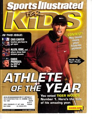 Tiger Woods 2001 Sports Illustrated for Kids magazine