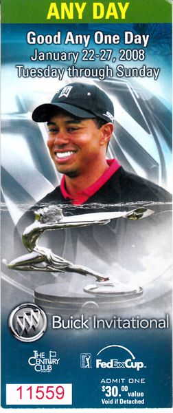 Tiger Woods 2008 Buick Invitational ticket stub