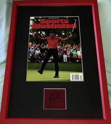 Tiger Woods autograph matted and framed with 2019 Masters Champion Sports Illustrated cover