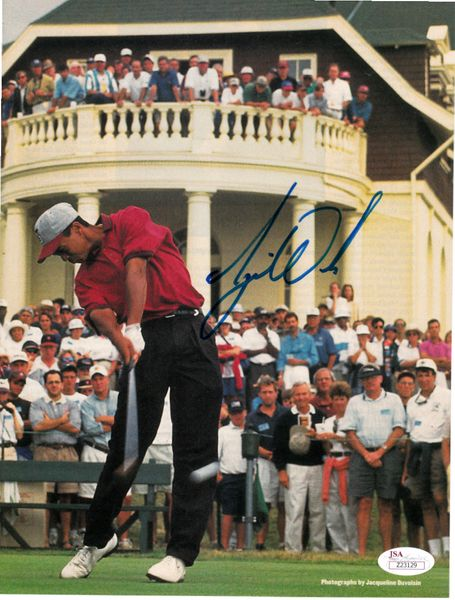 Tiger Woods autographed 1995 Stanford Golf Sports Illustrated full page magazine action photo RARE COLLEGE SIGNATURE JSA LOA