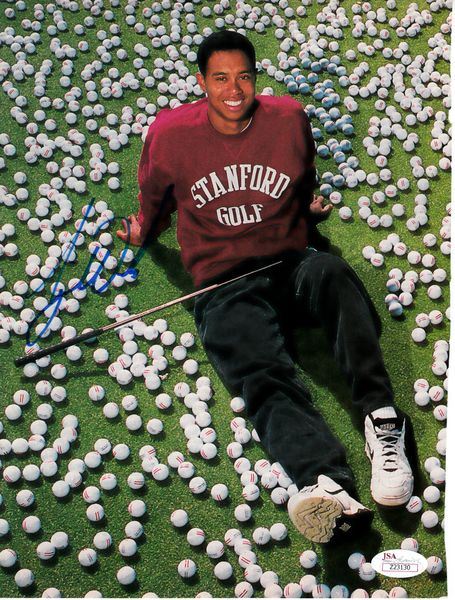 Tiger Woods autographed 1995 Stanford Golf Sports Illustrated full page magazine photo RARE COLLEGE SIGNATURE JSA LOA