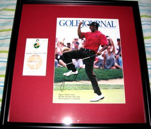 Tiger Woods autographed 1996 U.S. Amateur Championship magazine cover matted and framed with original ticket