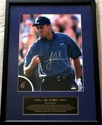 Tiger Woods autographed 1997 Phoenix Open Hole in One UDA 12x16 photo matted and framed #83/100