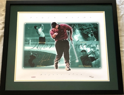 Tiger Woods autographed 2000 2001 Tiger Slam 16x20 poster size golf photo framed #100/500 (UDA)