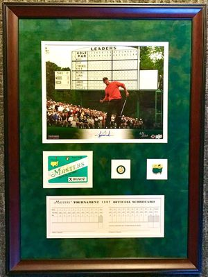 Tiger Woods autographed 1997 Masters Upper Deck certified 8x10 photo card framed with badge pins and scorecard #65/100