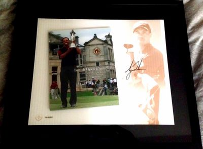Tiger Woods autographed 2005 British Open Champion UDA photo montage framed