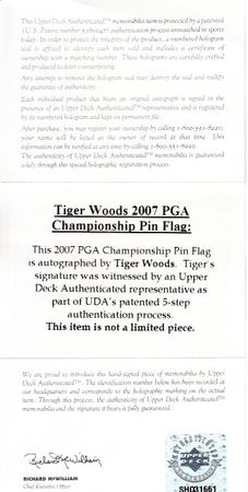Tiger Woods autographed 2007 PGA Championship UDA embroidered golf pin flag matted and framed