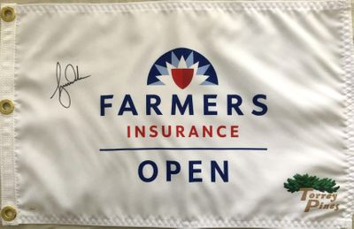 Tiger Woods autographed 2020 Farmers Insurance Open golf pin flag (JSA)
