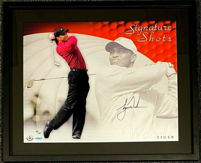 Tiger Woods autographed Signature Shots 16x20 poster size golf photo framed #49/100 (UDA)