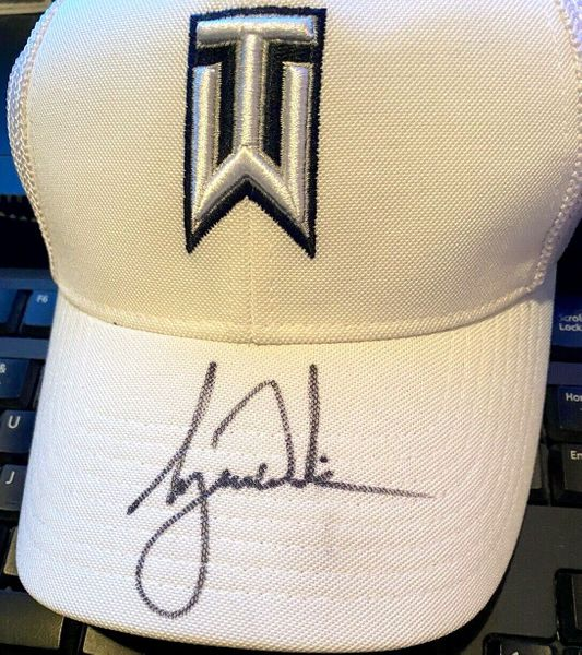 Tiger Woods autographed TW logo white Nike RZN golf cap or hat