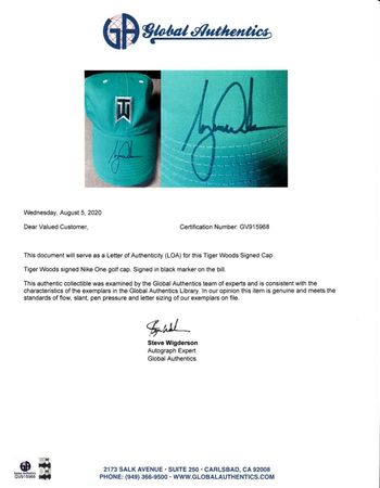 Tiger Woods autographed TW logo Nike One teal green golf cap or hat