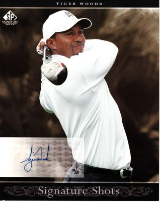 Tiger Woods certified autograph 2005 SP Signature Golf 8x10 photo card (#08/25)