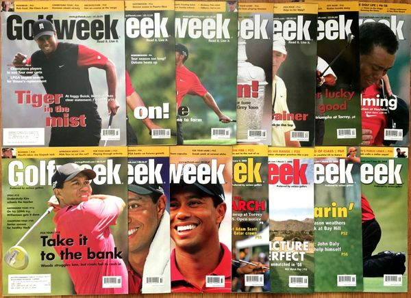 Tiger Woods lot of 14 different 2005 to 2008 Golfweek oversized magazines