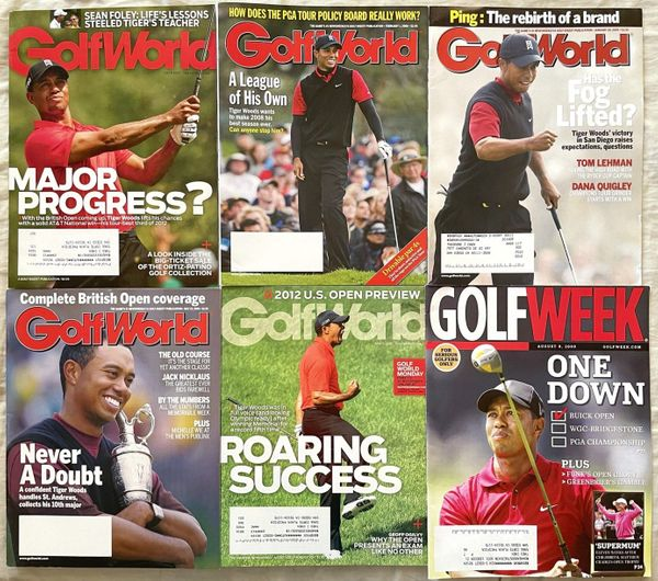 Tiger Woods lot of 6 different 2005 2008 2009 2012 Golf World or Golfweek magazine issues