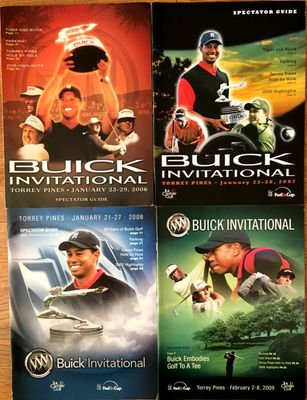 Tiger Woods lot of 4 Buick Invitational PGA Tour programs 2006 2007 2008 2009