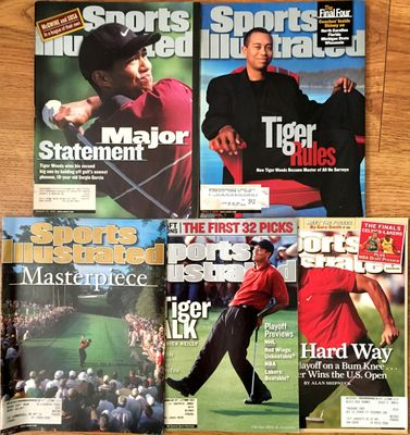 Tiger Woods lot of 5 different 1999 to 2008 Sports Illustrated magazine issues