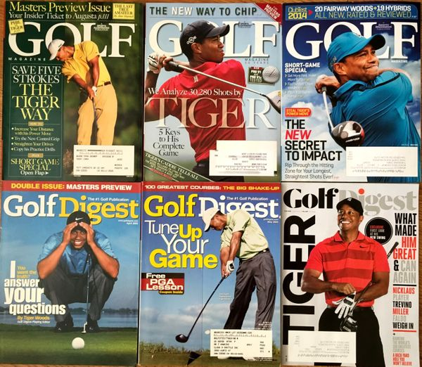 Tiger Woods lot of 6 different Golf Digest and Golf Magazine issues