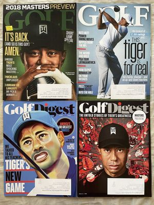 Tiger Woods lot of 4 different 2018 2019 2020 Golf Digest and Golf Magazine issues