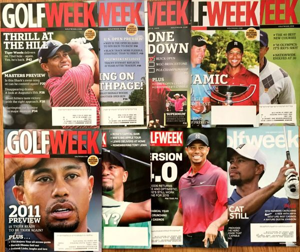 Tiger Woods lot of 9 different 2009 to 2016 Golfweek magazine issues