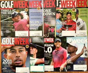 Tiger Woods lot of 9 different 2009-2016 Golfweek magazine issues