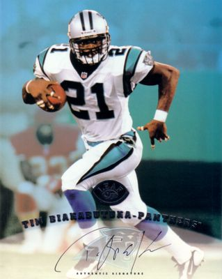 Tim Biakabutuka certified autograph Carolina Panthers 1997 Leaf 8x10 photo card