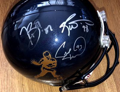 Tim Brown Charlie Ward Ricky Williams autographed Heisman logo full size helmet (Schwartz Sports)