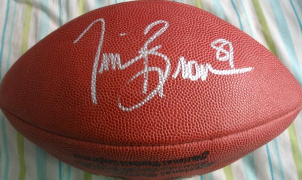 Tim Brown autographed Wilson NFL game model leather football