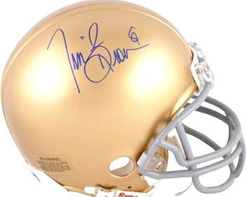 Tim Brown autographed Notre Dame Fighting Irish mini helmet