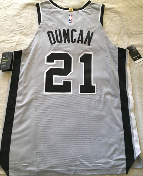 Tim Duncan San Antonio Spurs authentic Nike game model FINAL SEASON gray alternate jersey NEW WITH TAGS
