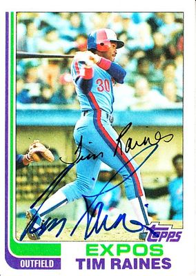 Tim Raines autographed Montreal Expos 1982 Topps card