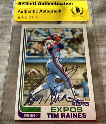 Tim Raines autographed Montreal Expos 1982 Topps card (BAS authenticated)